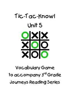 Journeys Third Grade Tic Tac Know! Vocabulary Unit 5