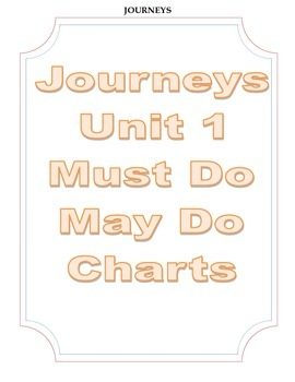 Journeys Third Grade Unit 1 Must Do-May Do Charts