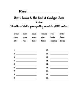 Journeys Third Grade Unit 1 Spelling ABC Order