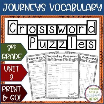 Journeys Third Grade: Unit 2 Vocabulary Crossword Puzzles