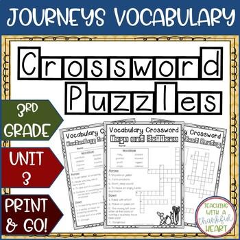 Journeys Third Grade: Unit 3 Vocabulary Crossword Puzzles