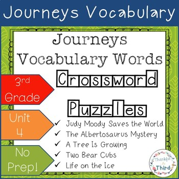 Journeys 3rd Grade Unit 4 Vocabulary Worksheets Teaching