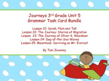 Journeys Third Grade Unit 5 Grammar Task Cards Bundle