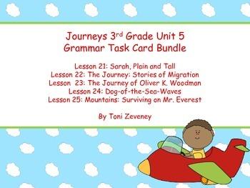 Journeys Third Grade Unit 5 Grammar Task Cards Bundle