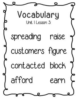 Journeys Third Grade Vocabulary Posters