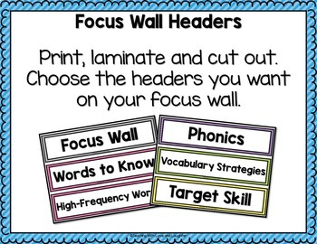 Focus Wall {For Use With First Grade Journeys}