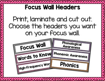 Focus Wall {For Use With Kindergarten Journeys}