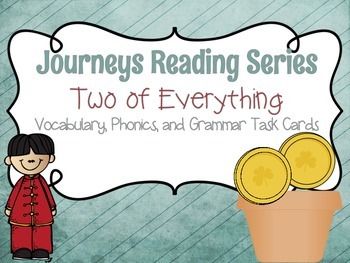 Journeys Two of Everything Vocabulary, Grammar, and Phonics Task Cards