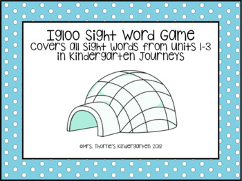 Journeys Unit 1-3 Igloo Sight Word Game