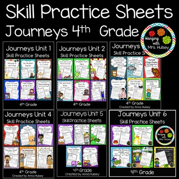 Journeys Unit 1-6 (Fourth Grade): Skill Practice Sheets