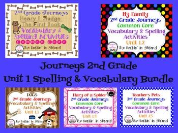 Journeys Unit 1 Bundle Spelling & Vocabulary Activities 2nd grade