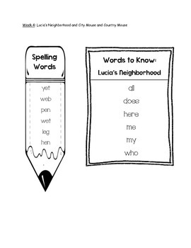 Journeys Unit 1 First Grade Spelling and Words to Know Lists