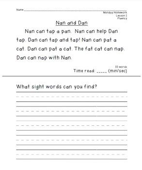 Journey's Unit 1 Fluency Homework for First Grade