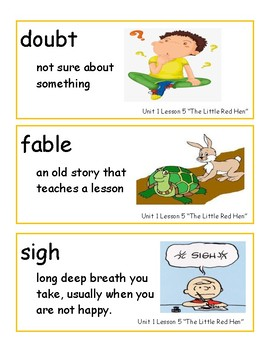 Journeys Unit 1 Kindergarten Oral and Big Book Vocabulary Strips WITH PICTURES