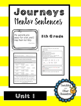 Journeys Unit 1 Mentor Sentences- 5th Grade