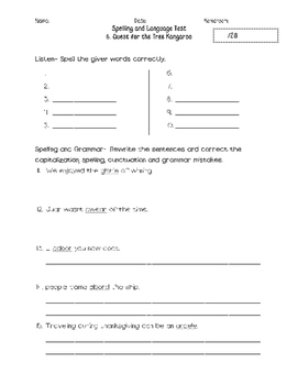Journeys Unit 1 Spelling and Grammar Tests