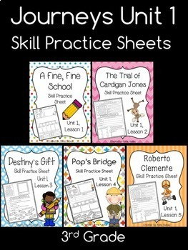Journeys reading test 3rd grade teaching resources teachers pay journeys unit 1 third grade skill practice sheets fandeluxe Image collections