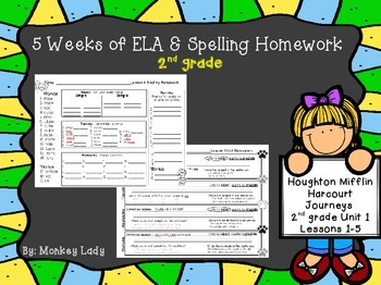 Journeys Unit 1 Weekly Homework for 2nd grade