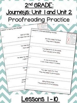 Journeys Proofreading Practice for SECOND GRADE Unit 1 and Unit 2