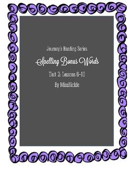 Journeys Unit 2 Bonus Spelling Lists