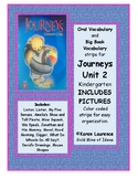 Journeys Unit 2 Kindergarten Oral and Big Book Vocabulary strips WITH PICTURES