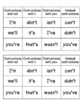 Journeys Unit 2 Lesson 10 Contractions Word Sort