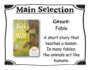 Journey's Unit 2, Lesson 6 Focus Wall - Jack and the Wolf