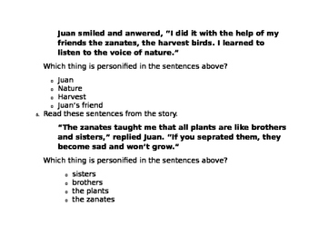 Journeys Unit 2, Lesson 8 FSA Style Test for The Harvest Birds