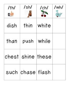 Journeys Unit 2 Lesson 8 th, ch, sh, wh Word Sort