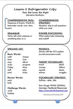 Journeys Unit 2 Lessons 6-10 Refrigerator Copies Grade 3