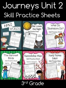 Journeys Unit 2 (Third Grade): Skill Practice Sheets