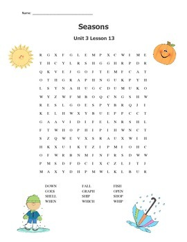 Journeys Unit 3 Word Search Spelling & High Frequency Word Practice