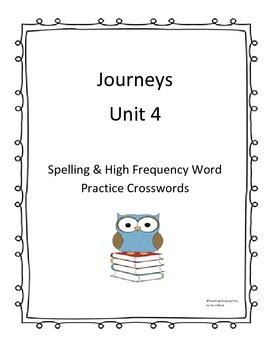 Journeys Unit 4 Word Search Spelling Practice NO PREP