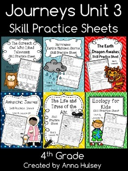 Journeys Unit 3 (Fourth Grade): Skill Practice Sheets