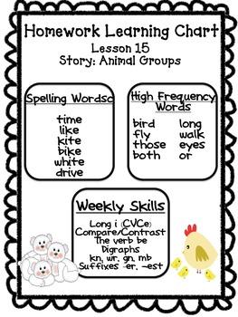 Journeys Unit 3 Homework Learning Charts Grade 1