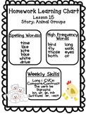 Journeys Unit 3 Homework Learning Charts Grade 1