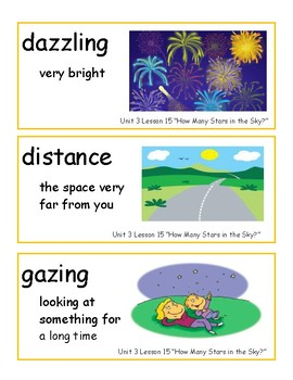 Journeys Unit 3 Kindergarten Oral and Big Book Vocabulary Strips WITH PICTURES