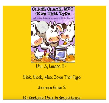 Journeys Unit 3, Lesson 11 Click, Clack, Moo: Cows That Type Smartboard Activity