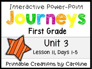 Journeys Unit 3 Lesson 11 Interactive Power Point, First Grade