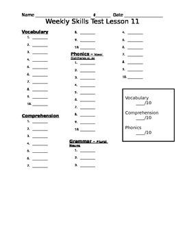Journeys Unit 3 Lesson 11 Weekly Skills Test Recording Key