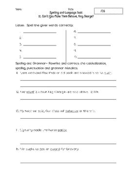 Journeys Unit 3 Spelling and Grammar Tests