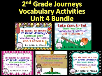 Journeys Unit 4 Bundle Vocabulary Activities 2nd grade