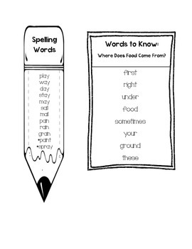 Journeys Unit 4 First Grade Spelling and Words to Know Lists