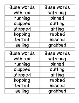 Journeys Unit 4 Lesson 16 Base words with -ed and -ing Word Sort