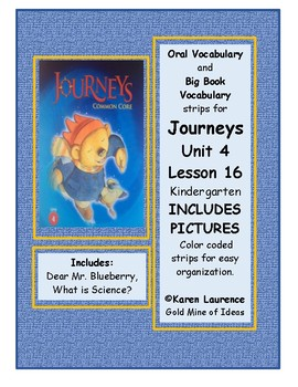 Journeys Unit 4 Lesson 16 Kindergarten Oral and Big Book Vocabulary PICTURES