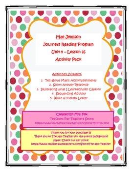 Journeys Unit 4, Lesson 16 - Mae Jemison Activity Pack