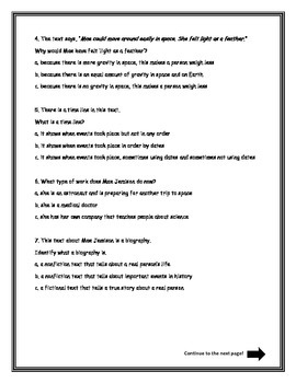 Journeys Unit 4 - Lesson 16 - Mae Jemison Assessment