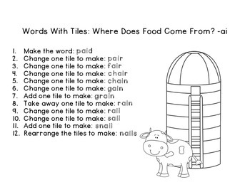 Where Does Food Come From? Letter Tiles for ai, ay Journeys Unit 4 Lesson 18