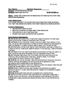Journeys Unit 4 Lesson 19 5th Grade Detailed Lesson Plan