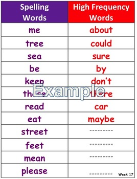 Journeys Unit 4 Lesson 20 Spelling and HFW list in color